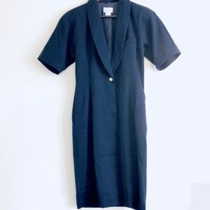 nordstrom Vintage Navy Blue Long Wool Button Coat